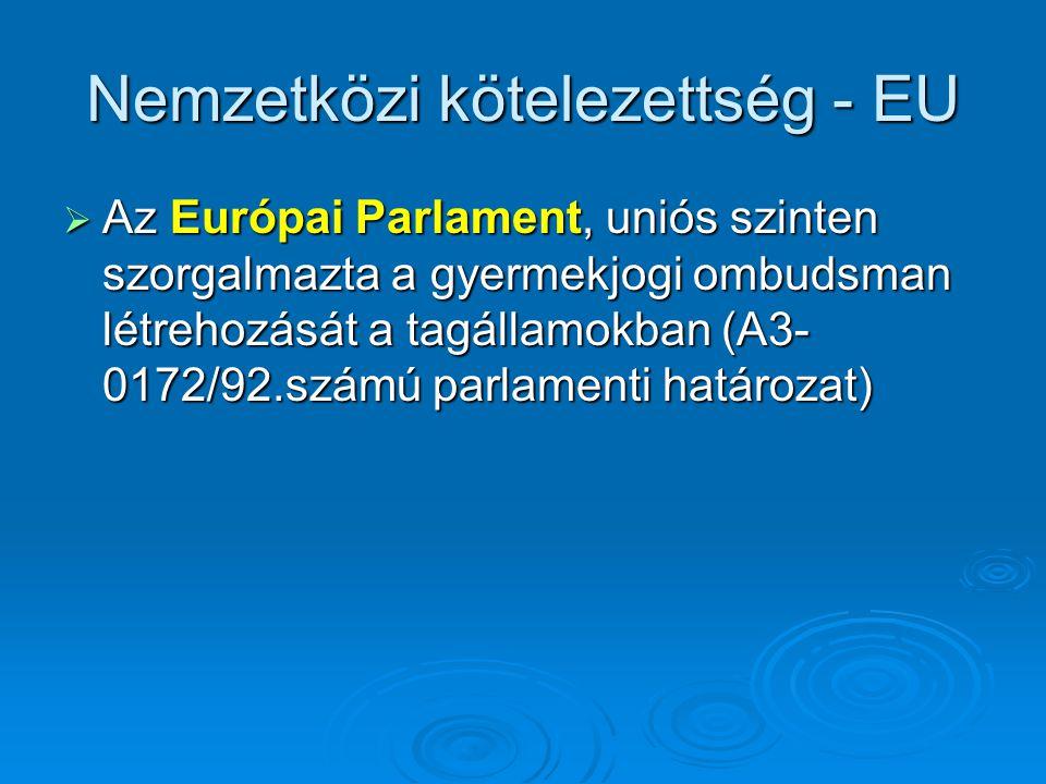 Nemzetközi kötelezettség - EU