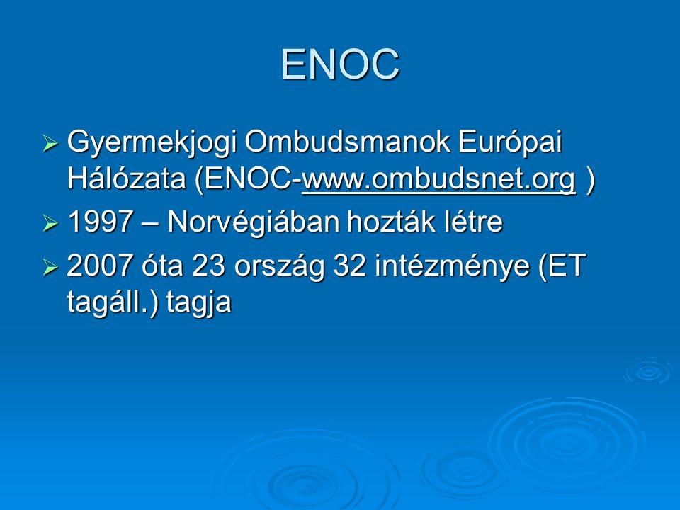 ENOC Gyermekjogi Ombudsmanok Európai Hálózata (ENOC-www.ombudsnet.org ) 1997 – Norvégiában hozták létre.