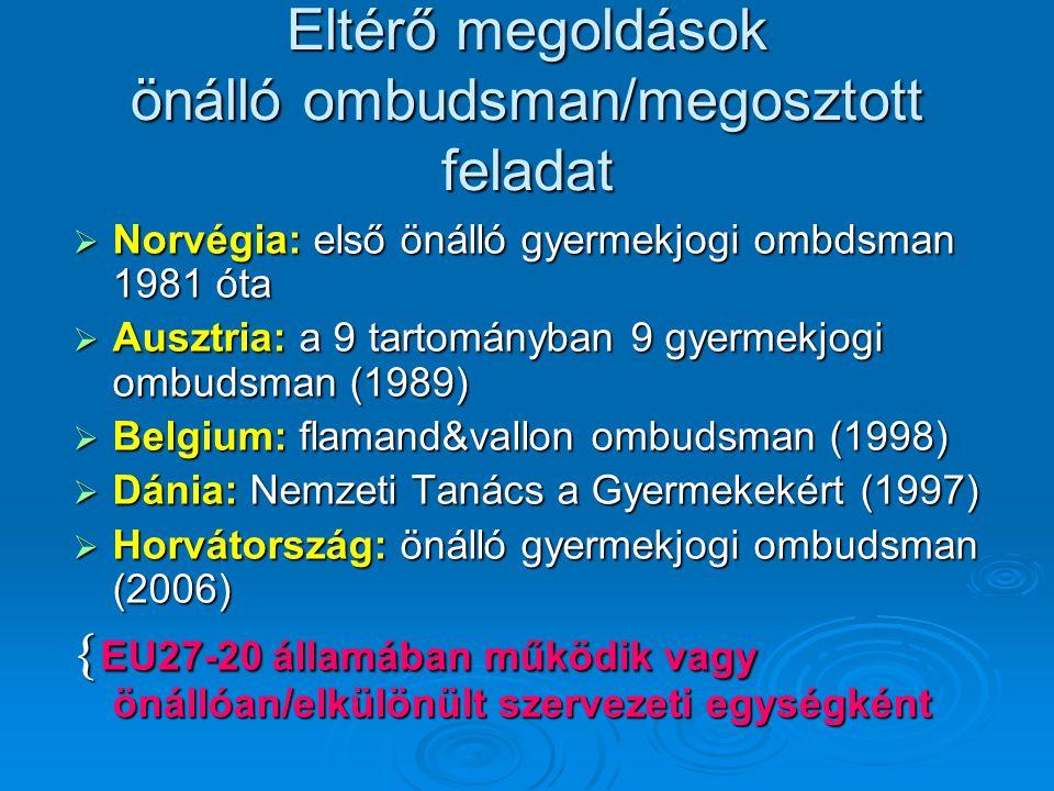 Eltérő megoldások önálló ombudsman/megosztott feladat