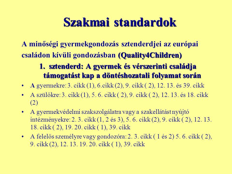 Szakmai standardok A minőségi gyermekgondozás sztenderdjei az európai