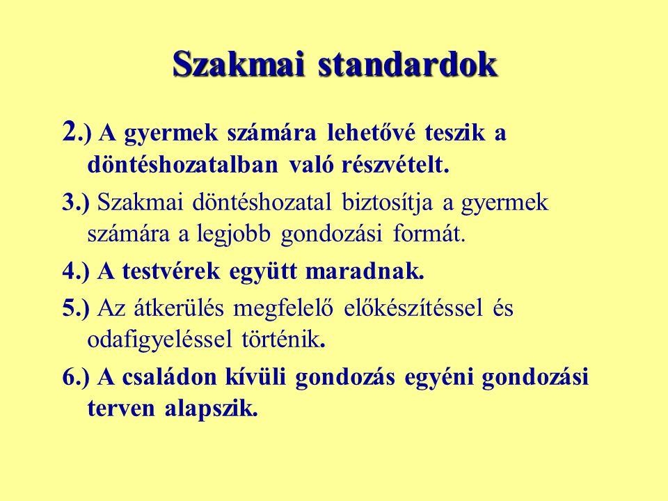 Szakmai standardok 2.) A gyermek számára lehetővé teszik a döntéshozatalban való részvételt.