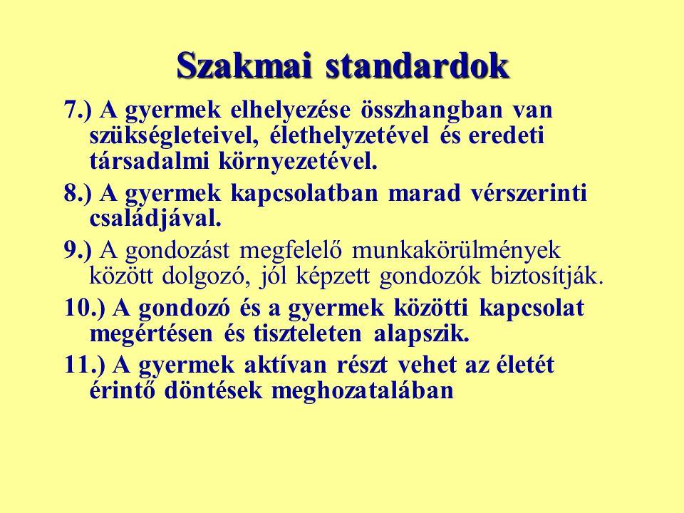 Szakmai standardok 7.) A gyermek elhelyezése összhangban van szükségleteivel, élethelyzetével és eredeti társadalmi környezetével.