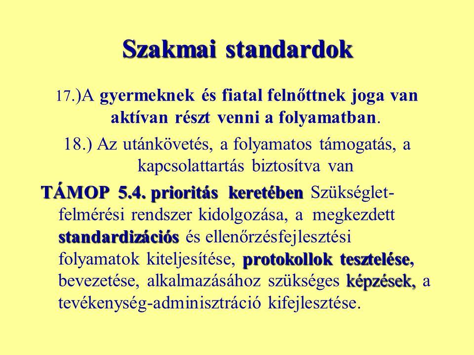 Szakmai standardok 17.)A gyermeknek és fiatal felnőttnek joga van aktívan részt venni a folyamatban.