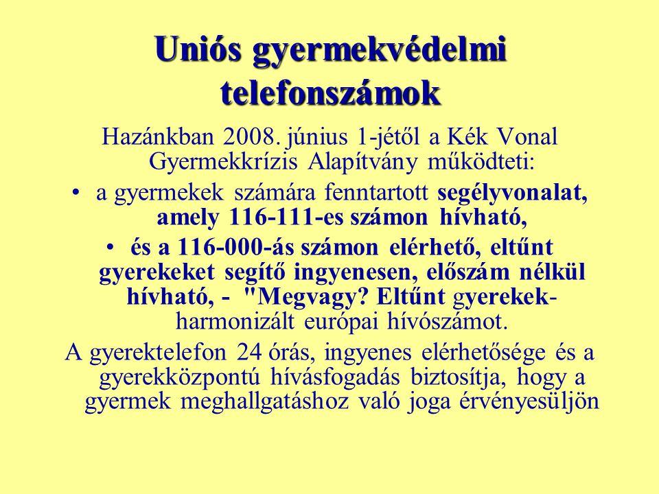 Uniós gyermekvédelmi telefonszámok