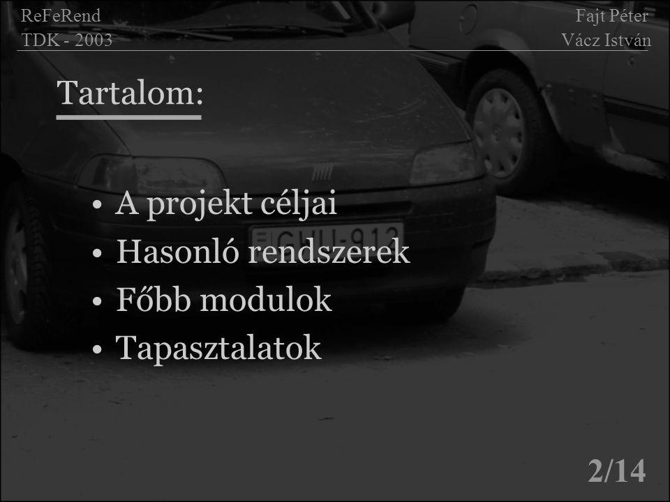 Tartalom: A projekt céljai Hasonló rendszerek Főbb modulok