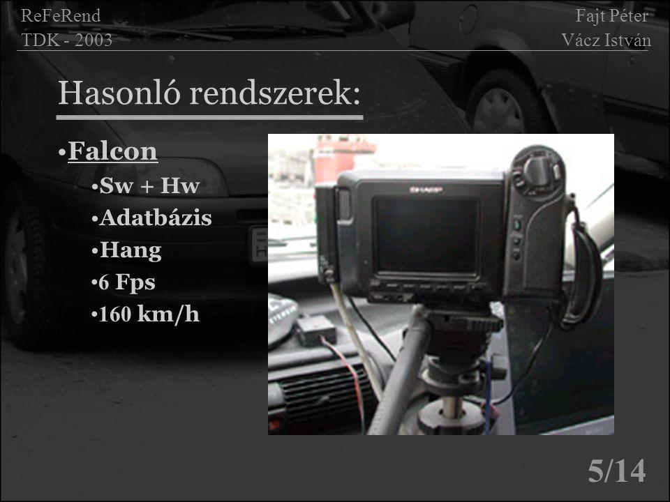 Hasonló rendszerek: 5/14 Falcon Sw + Hw Adatbázis Hang 6 Fps 160 km/h