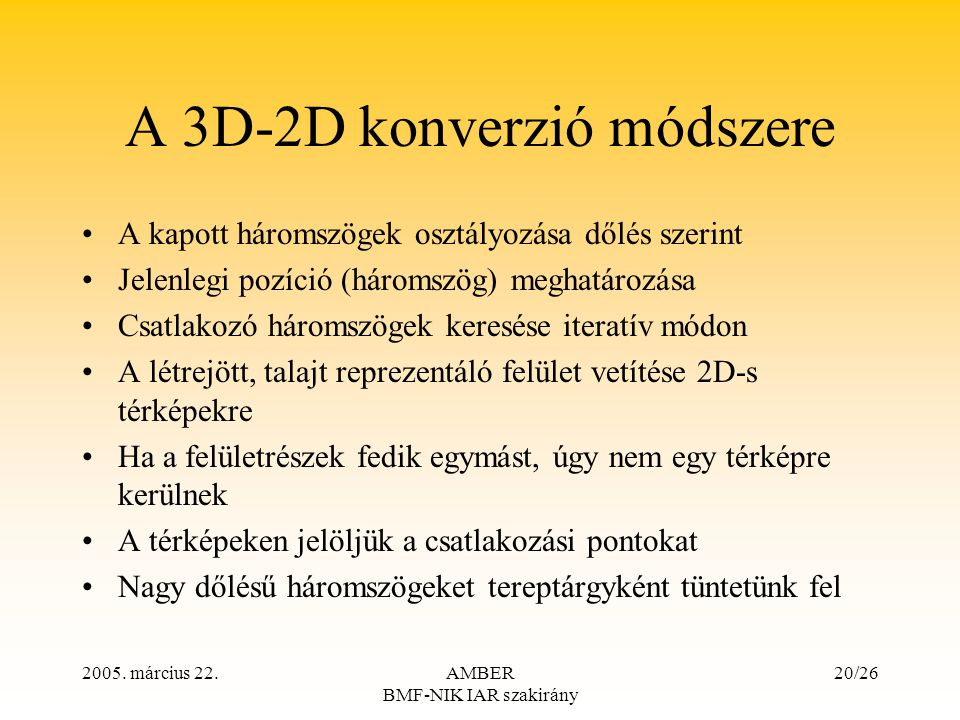A 3D-2D konverzió módszere