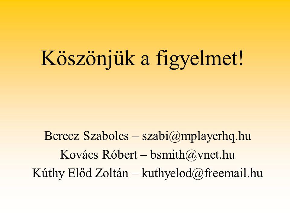 Köszönjük a figyelmet! Berecz Szabolcs – szabi@mplayerhq.hu