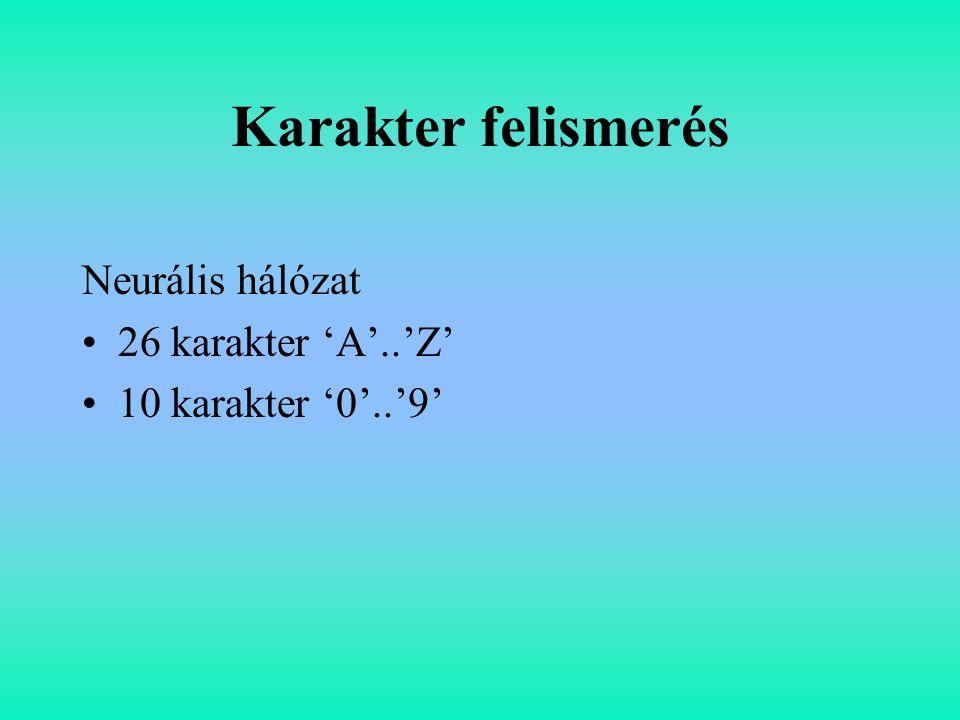 Karakter felismerés Neurális hálózat 26 karakter 'A'..'Z'