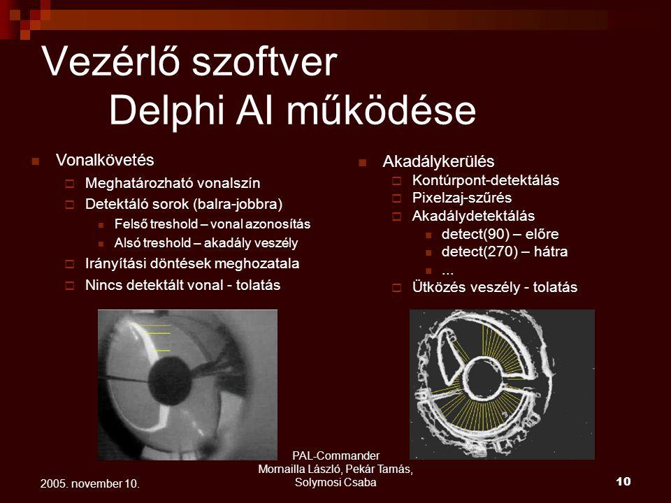 Vezérlő szoftver Delphi AI működése