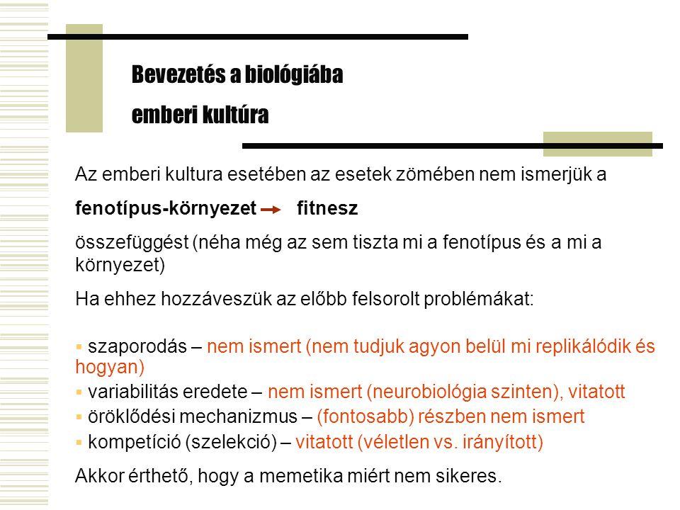 Bevezetés a biológiába emberi kultúra
