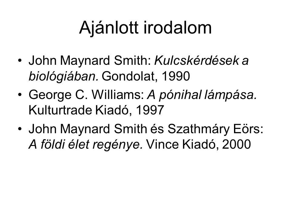 Ajánlott irodalom John Maynard Smith: Kulcskérdések a biológiában. Gondolat, 1990. George C. Williams: A pónihal lámpása. Kulturtrade Kiadó, 1997.