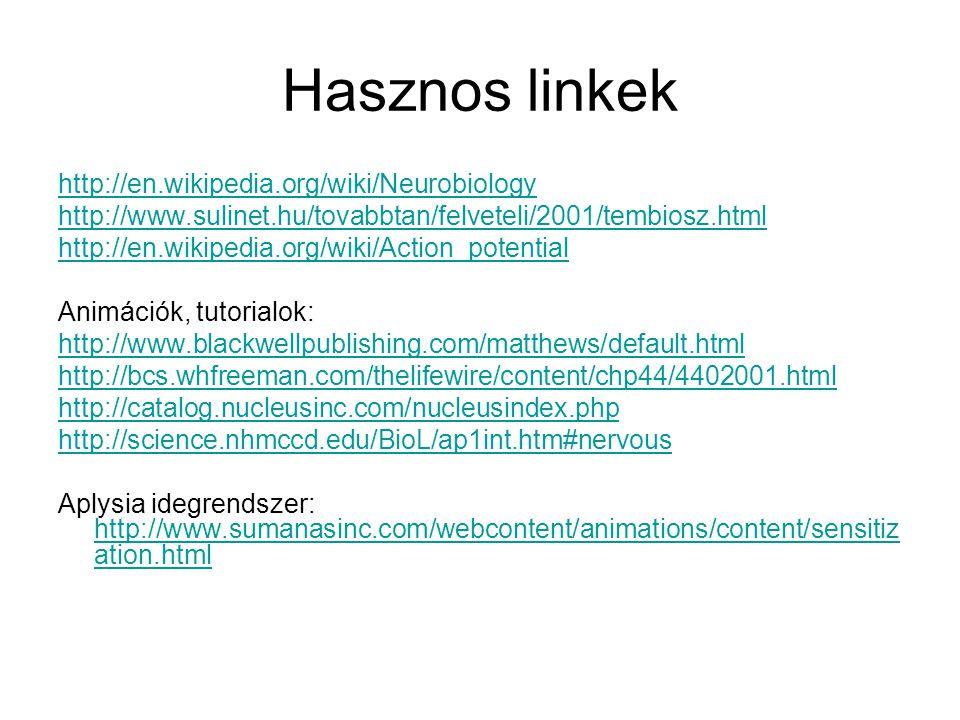 Hasznos linkek http://en.wikipedia.org/wiki/Neurobiology