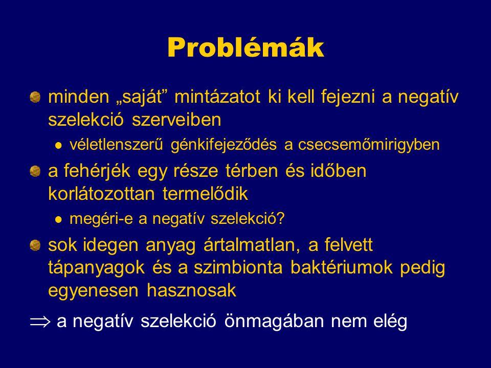 Problémák  a negatív szelekció önmagában nem elég