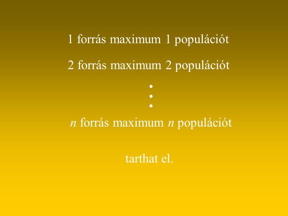 1 forrás maximum 1 populációt
