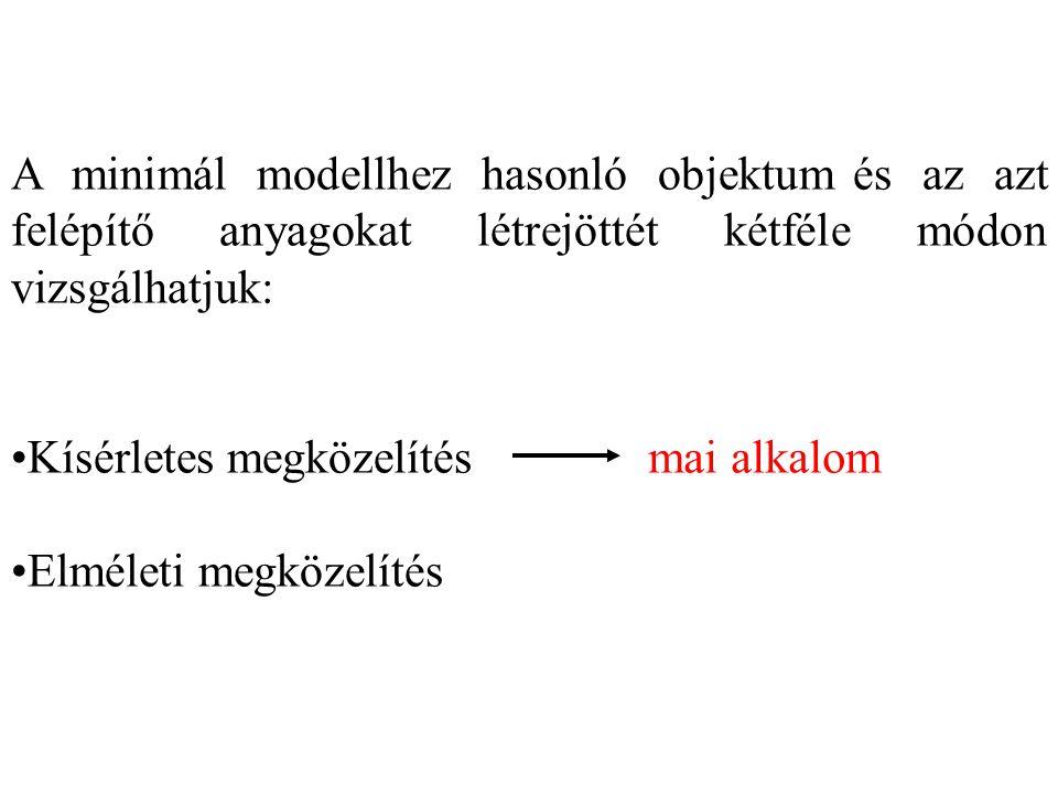 A minimál modellhez hasonló objektum és az azt felépítő anyagokat létrejöttét kétféle módon vizsgálhatjuk: