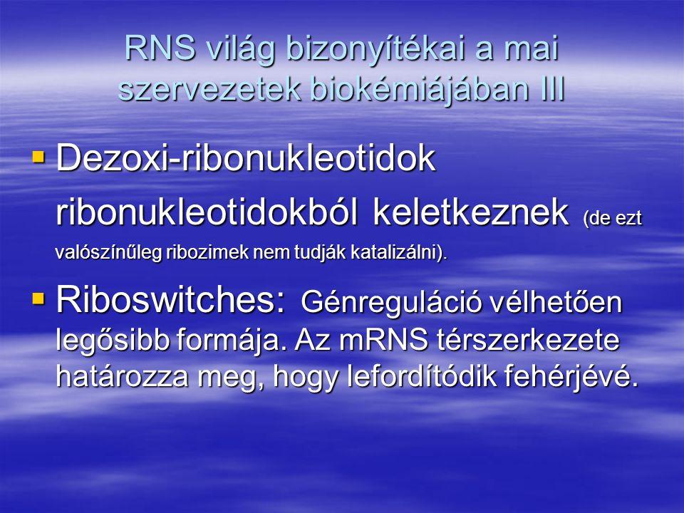 RNS világ bizonyítékai a mai szervezetek biokémiájában III