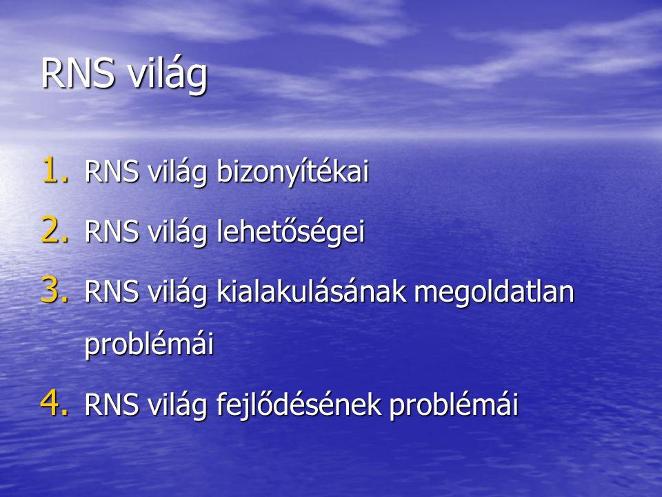 RNS világ RNS világ bizonyítékai RNS világ lehetőségei