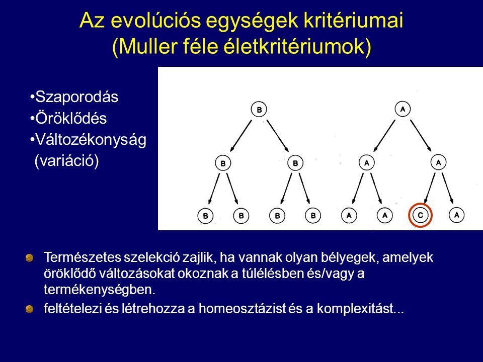 Az evolúciós egységek kritériumai (Muller féle életkritériumok)