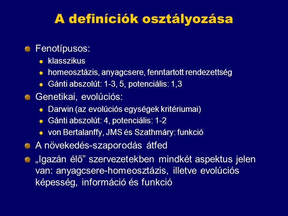 A definíciók osztályozása