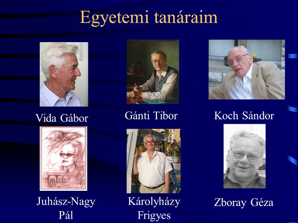 Egyetemi tanáraim Gánti Tibor Koch Sándor Vida Gábor Juhász-Nagy Pál