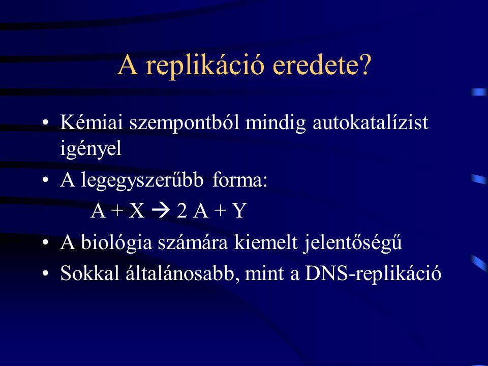 A replikáció eredete Kémiai szempontból mindig autokatalízist igényel
