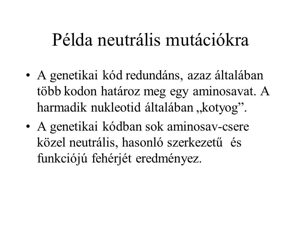 Példa neutrális mutációkra