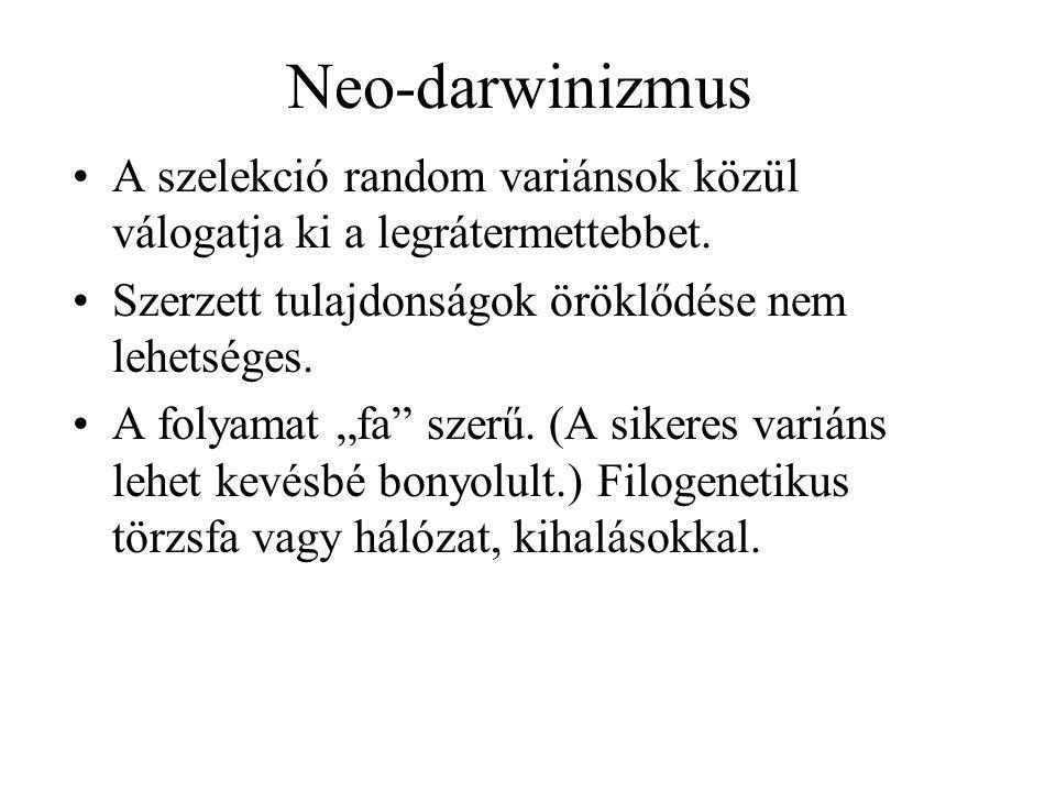 Neo-darwinizmus A szelekció random variánsok közül válogatja ki a legrátermettebbet. Szerzett tulajdonságok öröklődése nem lehetséges.