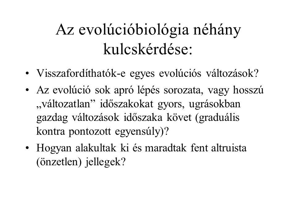 Az evolúcióbiológia néhány kulcskérdése:
