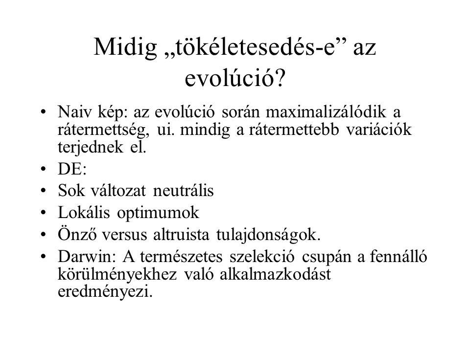 """Midig """"tökéletesedés-e az evolúció"""