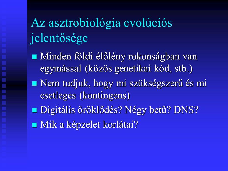 Az asztrobiológia evolúciós jelentősége