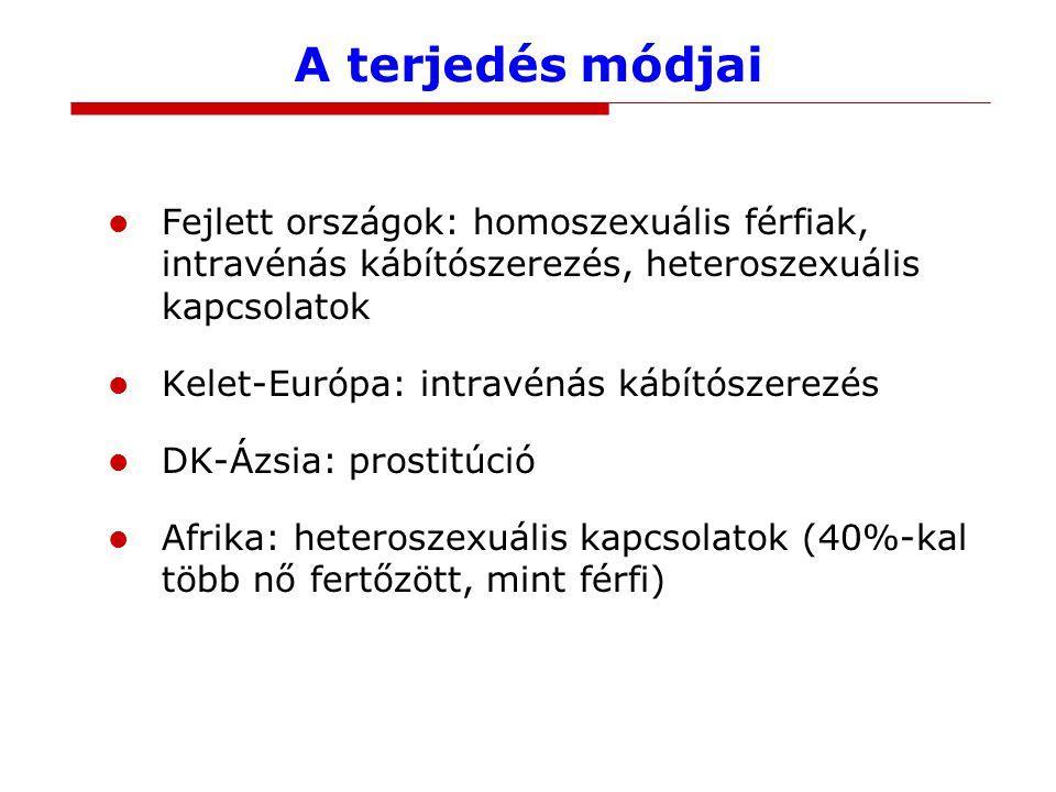 A terjedés módjai Fejlett országok: homoszexuális férfiak, intravénás kábítószerezés, heteroszexuális kapcsolatok.