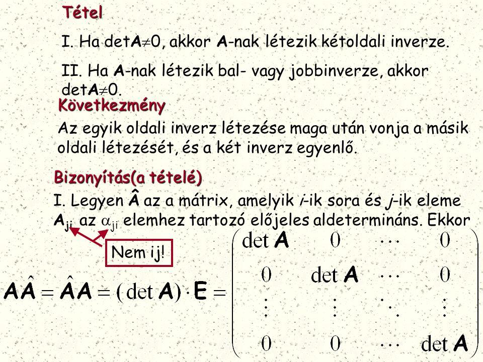 Tétel I. Ha detA0, akkor A-nak létezik kétoldali inverze. II. Ha A-nak létezik bal- vagy jobbinverze, akkor detA0.