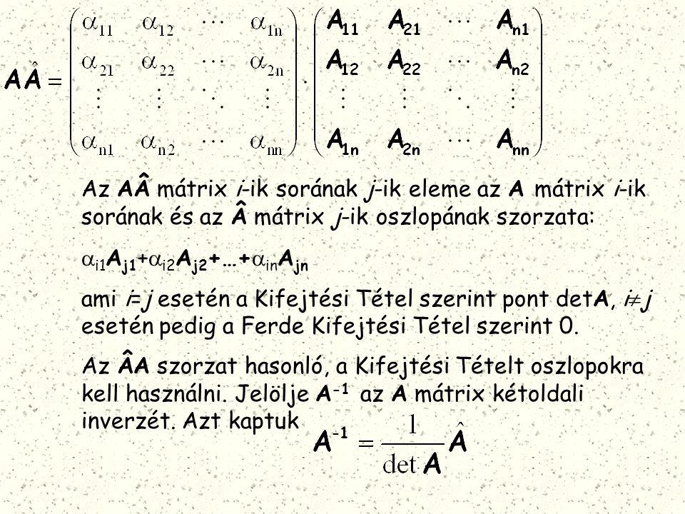 Az Amátrix i-ik sorának j-ik eleme az A mátrix i-ik sorának és az mátrix j-ik oszlopának szorzata: