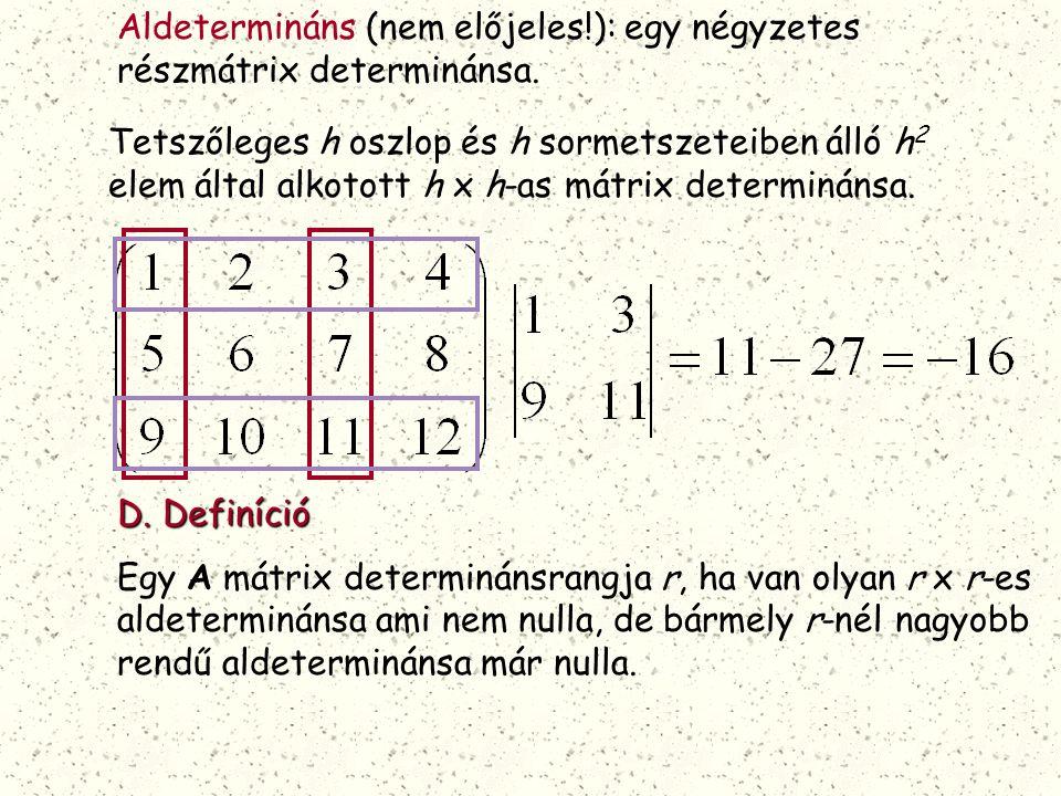 Aldetermináns (nem előjeles!): egy négyzetes részmátrix determinánsa.