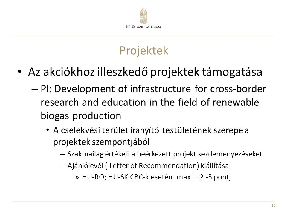 Az akciókhoz illeszkedő projektek támogatása