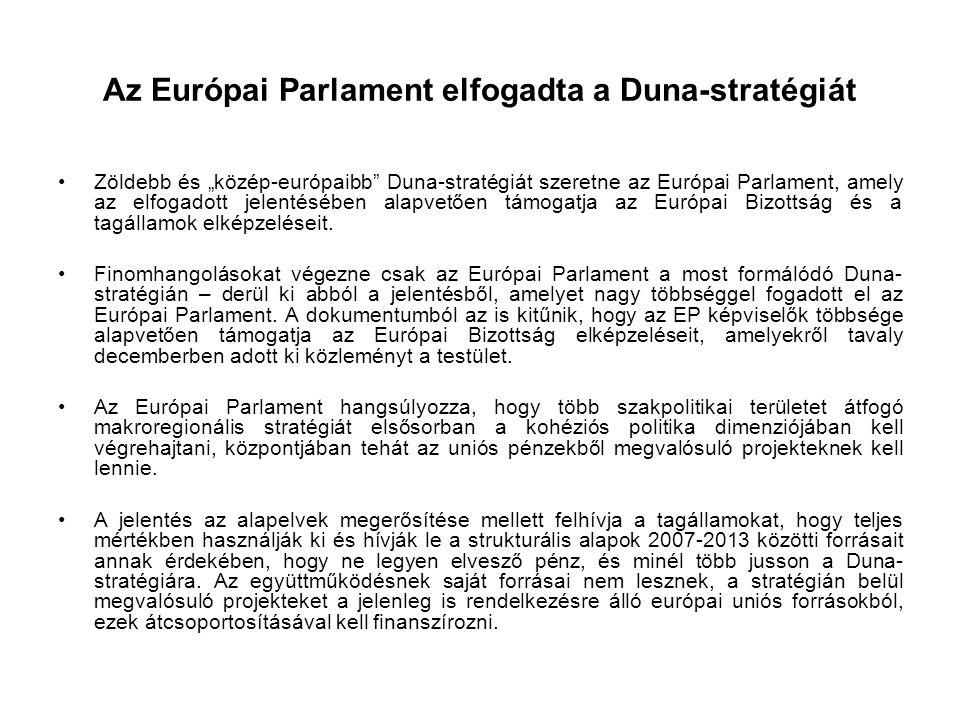 Az Európai Parlament elfogadta a Duna-stratégiát