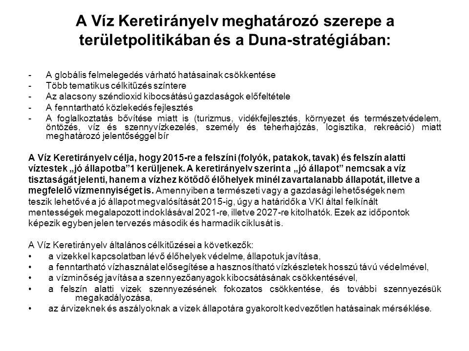 A Víz Keretirányelv meghatározó szerepe a területpolitikában és a Duna-stratégiában: