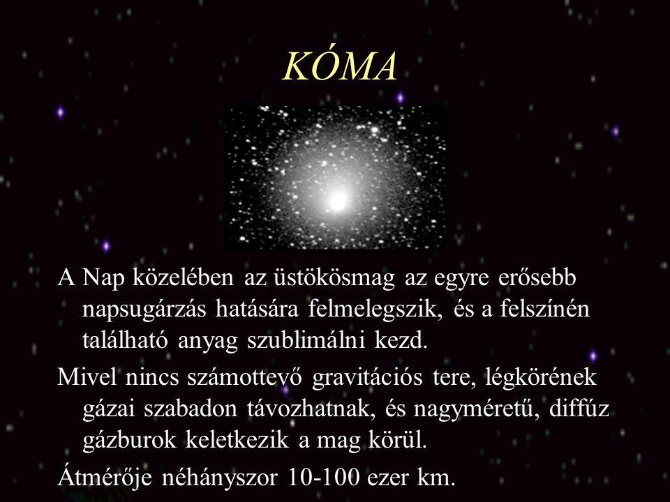KÓMA A Nap közelében az üstökösmag az egyre erősebb napsugárzás hatására felmelegszik, és a felszínén található anyag szublimálni kezd.