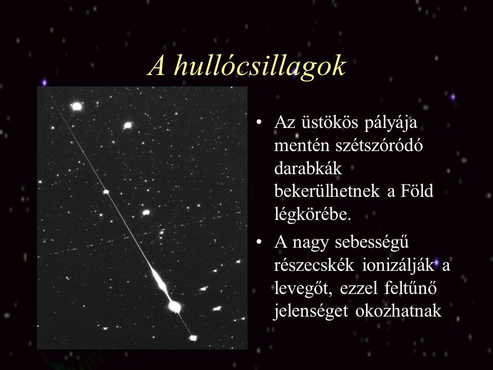 A hullócsillagok Az üstökös pályája mentén szétszóródó darabkák bekerülhetnek a Föld légkörébe.