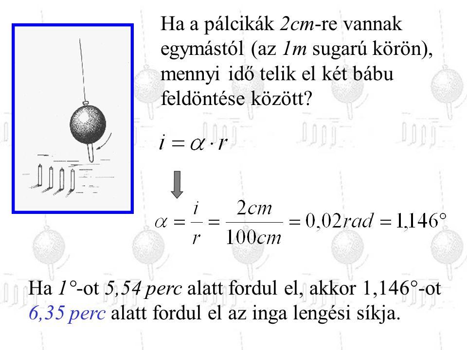 Ha a pálcikák 2cm-re vannak egymástól (az 1m sugarú körön), mennyi idő telik el két bábu feldöntése között