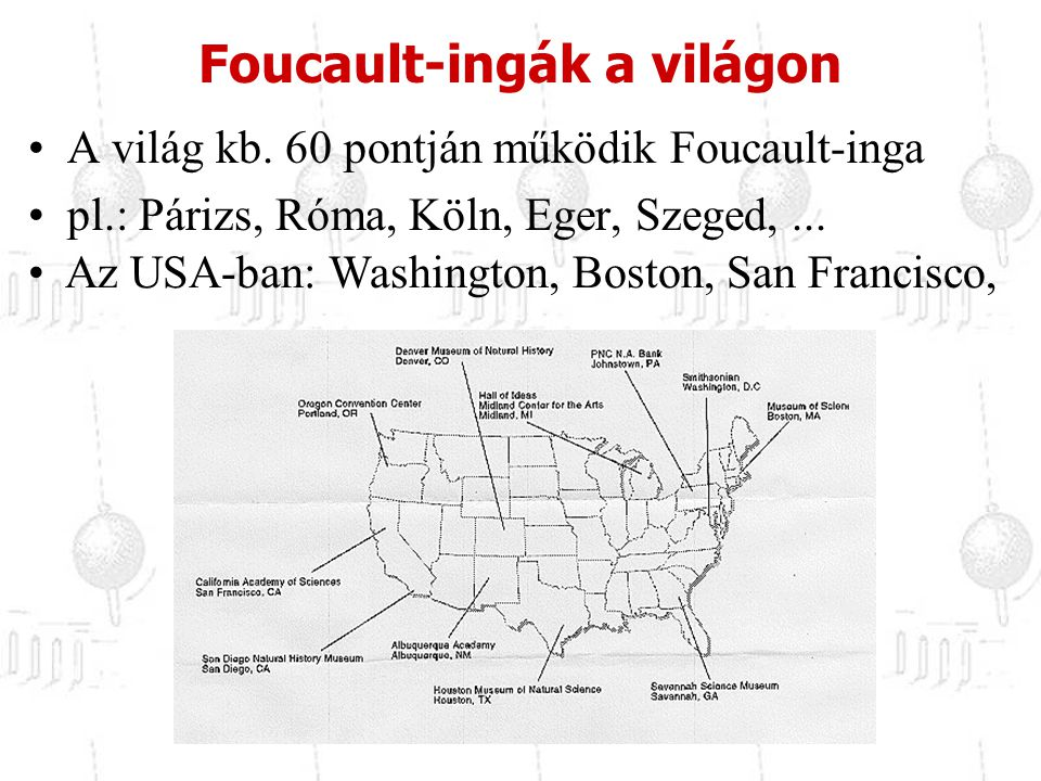 Foucault-ingák a világon