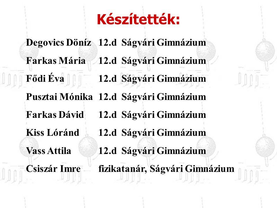 Készítették: Degovics Döníz 12.d Ságvári Gimnázium