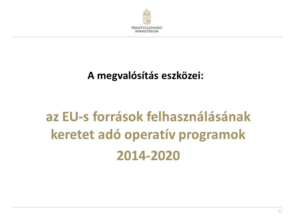 az EU-s források felhasználásának keretet adó operatív programok