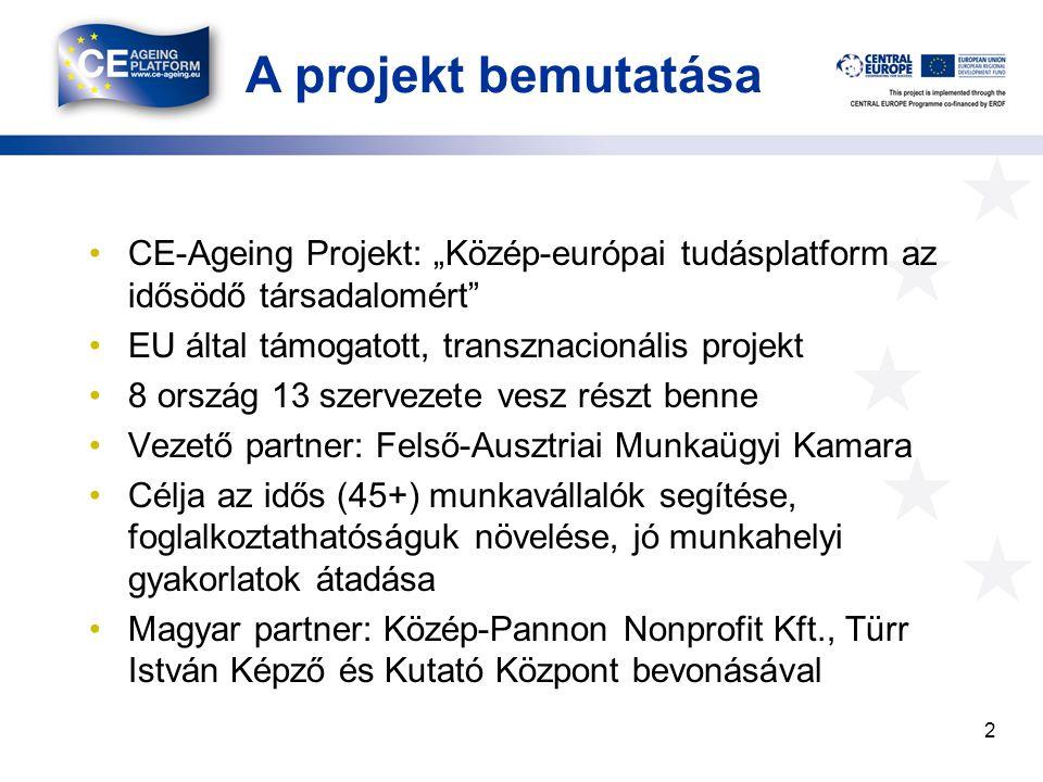 """A projekt bemutatása CE-Ageing Projekt: """"Közép-európai tudásplatform az idősödő társadalomért EU által támogatott, transznacionális projekt."""