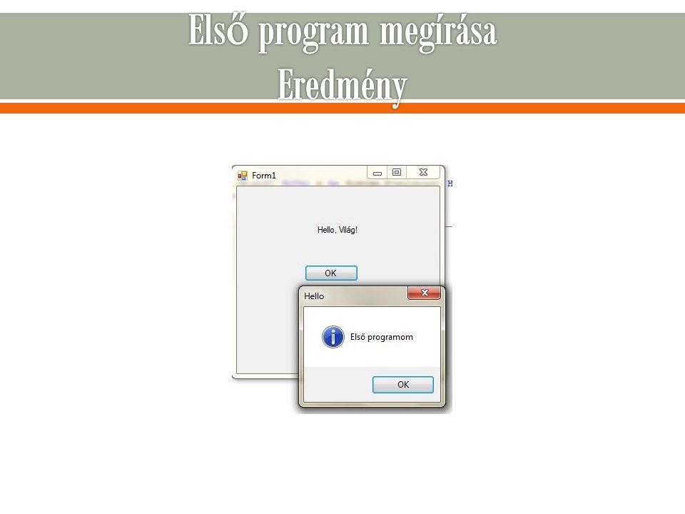 Első program megírása Eredmény
