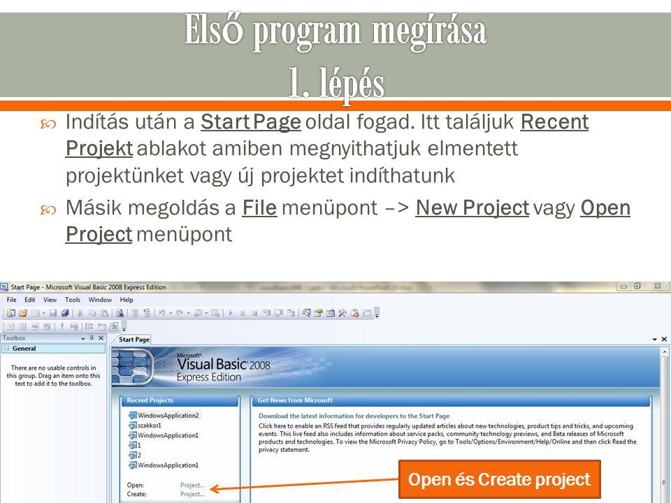Első program megírása 1. lépés