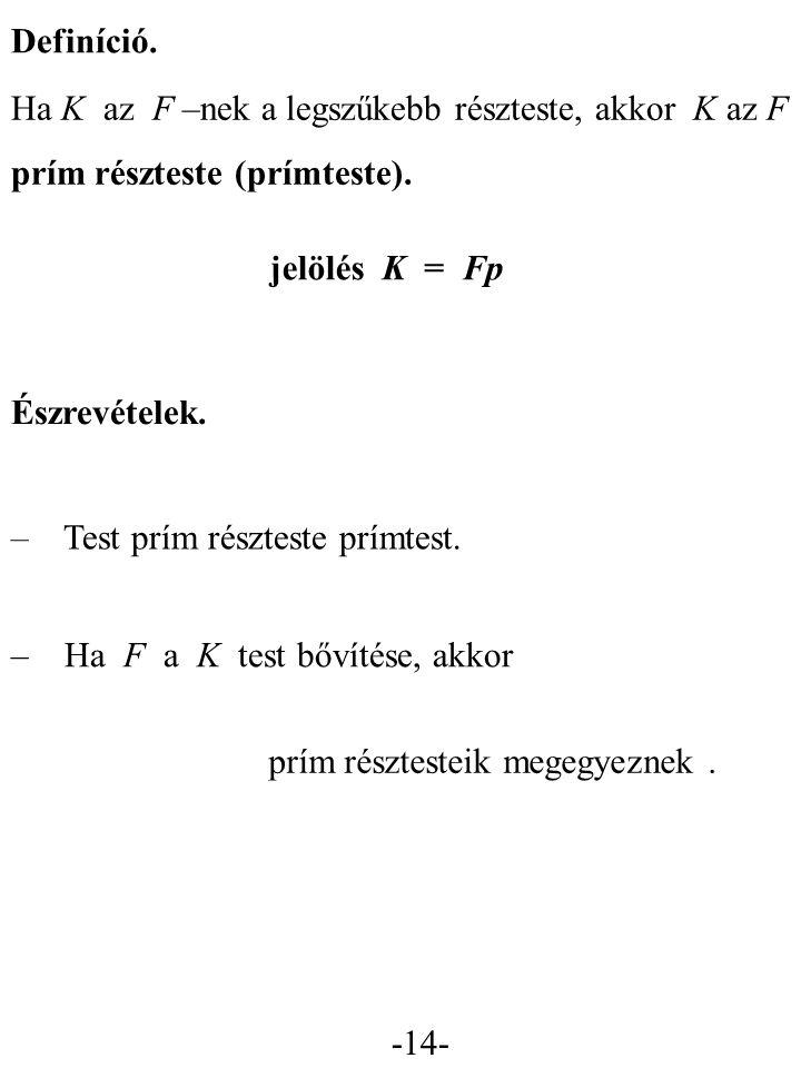 Definíció. Ha K az F –nek a legszűkebb részteste, akkor K az F. prím részteste (prímteste). jelölés K = Fp.
