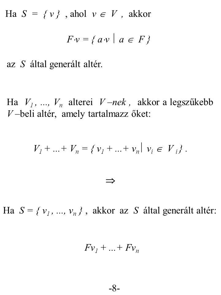 Ha S = { v } , ahol v  V , akkor Fv = { av  a  F } az S által generált altér.