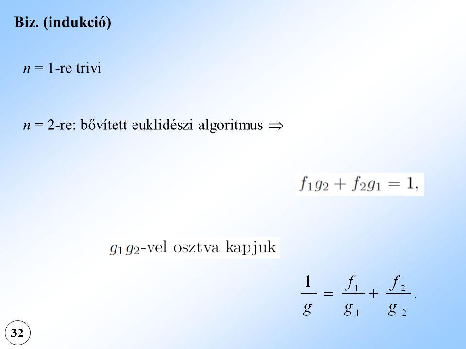 n = 2-re: bővített euklidészi algoritmus 